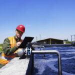 Worker-inspecting-valve